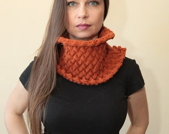 KNIT COWL Unisex pure wool Hand Knitted scarf, Burnt Orange Scarf by Solandia winter Christmas Gift