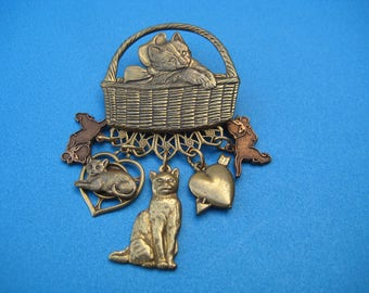 Vintage Cat In a Basket  with Charms Pin