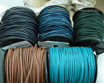 3mm Leather Cord - 3 Yards - Blue, Green, Brown, Turquoise colors, Ready to Ship!
