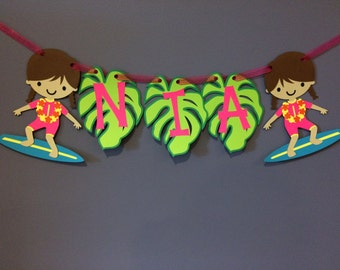 Girl Surfer Name Banner on leaves