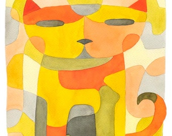 Gris orange moutarde de la chambre de bébé chat 1 mi siècle moderne Art Print enfants Art tirages d'Art jaune affiche 11 x 16
