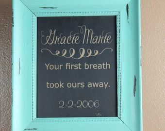 chalkboard, laser engraved, custom,personalized, babys name, birth announcement, first breath, gift, custom