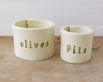 Olives and Pits.  Nesting Hand-Built Ceramic Bowls.  In Olive Green.  Olive Bowl.  Pit Bowl.  Made From Recycled Clay.