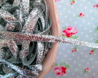 Metallic Velvet Glitter Ribbon - Silver - 3/8 inch - 1 Yard