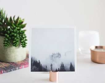 """5x5 Tree and Fog Print on a Copper Photo Stand - Fine Art Square Photo Display Minimalist Modern Art """"Mountain Fog + Copper Stand"""""""