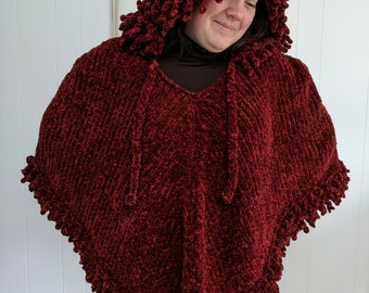 Soft & Luxurious, Roomy and Warm Knit Poncho with Hood in RED and BLACK size medium to large