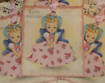 Girl Birthday Wishes Gift Tags, Vintage Birthday Tags, Happy Birthday Gift Tags