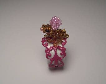 Pink Adjustable ring, small seed beads, Brown and pink Bunny