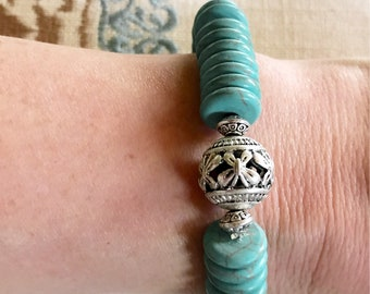"71/4"" stretchy bracelet, 12mm Turquoise flat beads, 14mm silver vocal bead, bracelets, summer, women, girls, mother"