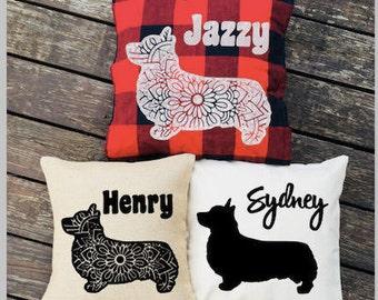 Corgi Pillow - Personalized Silhouette Pillow - Dog Pillow Cover - Burlap Pillow - Buffalo Plaid Pillow - Decorative Pillow - Dog Decor