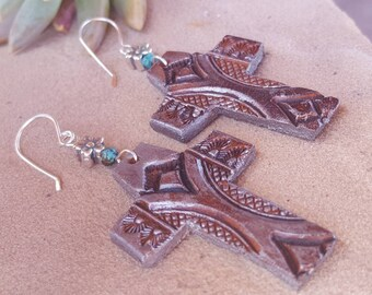 Leather Cross Earrings - Silver Paint - Distressed - Tooled Leather - Rustic - Flowers - Hand Painted - Sterling Silver - Western Jewelry
