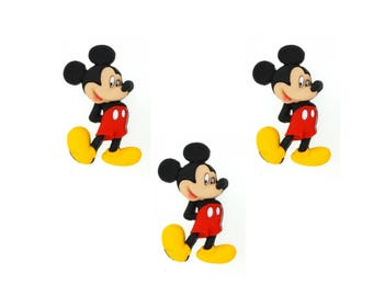 Mickey Mouse Flat Back Cabochons 3pc
