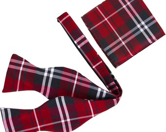 New Men's Plaid Black Red White Self-Tie Bowtie and Handkerchief, for Formal Occasions 2012