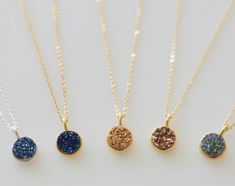 Round Druzy Glitter n Dazzle Pendant Necklace, Gold Bezel Stone on 14k Gold fill chain, Silver Bezel Druzy Pendant on Sterling Silver Chain
