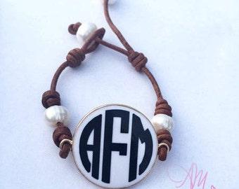 Monogram Leather Bracelet, Monogram Pearl Bracelet, Monogram Bracelet