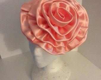 Pink fabric flower,rose, fascinator,embelisment