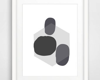 Scandinavian Print, Grey Printable Wall Art, Abstract Art Print, Digital Download, Abstract Poster, Grey Wall Decor, Modern Wall Art, Grey