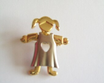"""Mother's Day Vintage """"I Love My Daughter"""" 80s Brooch"""