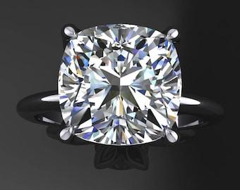 natalie ring - 3.3 carat cushion cut NEO moissanite engagement ring, colorless moissanite ring
