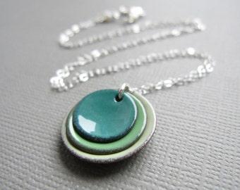 Spruce Willow Tea Green Modern Minimalist Enamel Necklace Sterling Silver