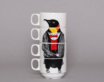 Set of 4 Coffee cups - Mr Penguin