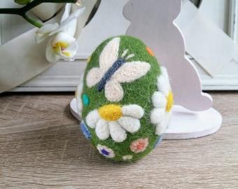 Needle felted egg, wool felted egg, felt Easter egg, spring ornament, Easter ornament, decorative egg, miniature artwork, unique easter egg