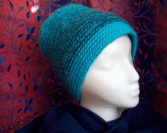 Crochet Hat Beanie Felted Turquoise