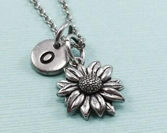Sunflower charm necklace, flower necklace, personalized necklace, flower jewelry, initial necklace, sunflower jewelry