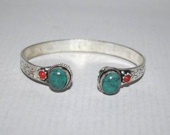 Turquoise bracelet, Coral Bracelet, Boho bracelet, Silver Bracelet, Tribal Bracelet, Gypsy bracelet, Hippie Bracelet BTBB112
