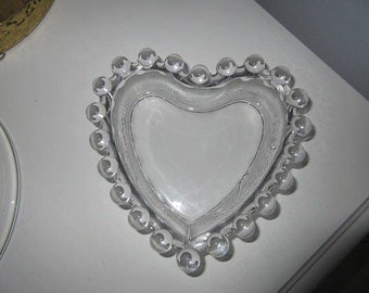 Crystal Heart Candlewick nappy Bowl by  Imperial Glass Ohio, Hobbs rim hobnail beaded  rim,Swan Sweet Glass Stand