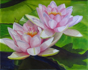 Waterlilies oil original flower painting pink waterlilies small painting 8x10