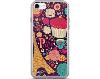 Love Paris Eiffel Tower Coffee Flowers and Cupcakes iPhone 7/7s case, iPhone 7/7s plus, iPhone 5/5s/Se, iPhone 6/6s case, iPhone 6s plus
