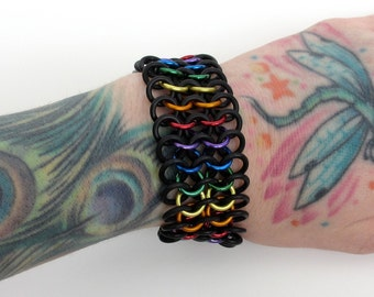 Stretchy LGBT chainmail bracelet, gay pride bracelet, rainbow jewelry