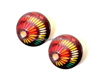Glass cabochons, x2, red and multicolor, 18mm, handmade