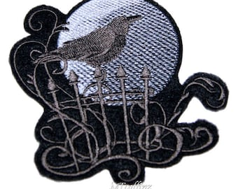 Full Moon Raven on a Fence Iron On Embroidery Patch MTCoffinz