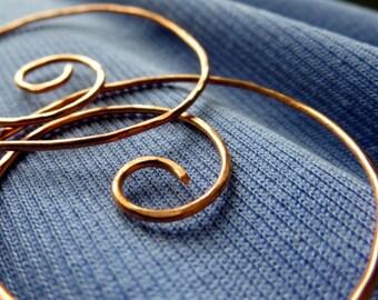Large Swirl Hoop Earrings. NOTSO MINI 45mm . Swirls.  hammered surface. 18 gauge Solid Copper Wire