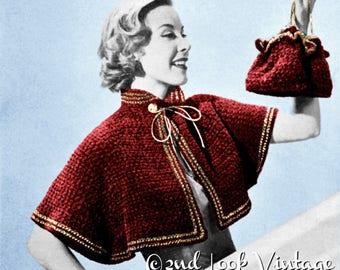Vintage Crochet Pattern 1950s Shoulder Cape and Purse Drawstring Handbag Digital Download PDF
