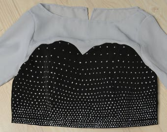 Hand-painted Illusion Sweetheart Neckline Crop Top