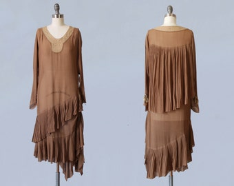 1920s Dress / 20s Coffee Chiffon CAPE Back Flapper Dress / Mushroom Pleating / Tiered Asymmetrical Fishtail Cascading Hem /  Lace Yoke