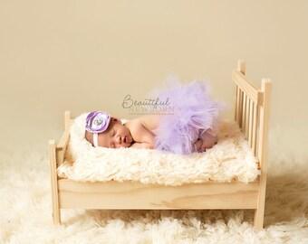 Newborn Tutu, Baby Tutu, Tutu Set, Lavender Tutu Set, Photo Prop, Tutu, Newborn Tutu Set, Singed Headband, Headband and Tutu Set