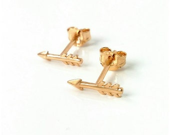 Loops arrows earrings, gold-plated 750/000 - gold-plated arrow 750/000, chips arrows - arrow earrings 18 k gold plated
