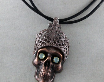 Art Necklace Zombie King Jeweled Skull Crowned Leather Necklace