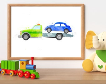 Tow truck print, rescue printable, rescue truck wall art, tow truck printable, rescue vehicle print, boy bedroom wall art, boy room decor
