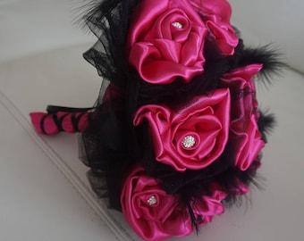 black and fuchsia fabric bridal bouquet