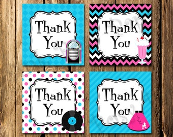 Printable 50s Sock Hop Retro Birthday Thank You Tags - Instant Download