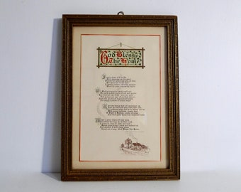 Art Deco Vintage Buzza Motto Framed Print God Bless The Home Poem and Chippy Gold Gilt Wooden Frame - Floyd Jones Vintage