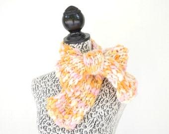 Hand Knit Scarf Hand Dyed and Spun Yarn, Warm Winter Neckwarmer