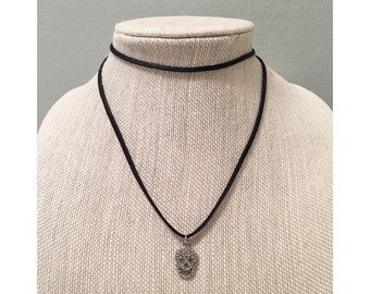 Pave Skull Double Wrap Choker Necklace