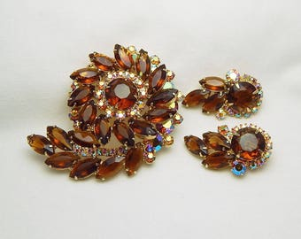 Juliana Pin Earrings Set, D&E Topaz Rhinestone Brooch, Delizza and Elster Amber Jewelry