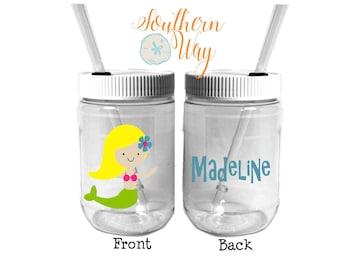 Plastic Mason Jar Cups - Party Favor - Plastic Cups - Birthday Party Favor - Kids Party Favor - Mermaid Theme - Little Mermaid